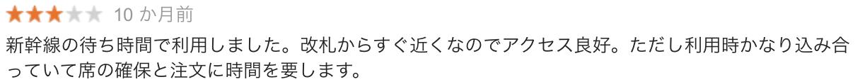 JR東京駅八重洲北口店の口コミ2